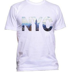 New York City NYC NY white men's t shirt